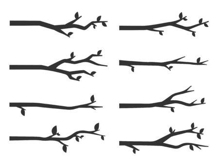 Baum-Zweig Silhouetten Vektor-Set