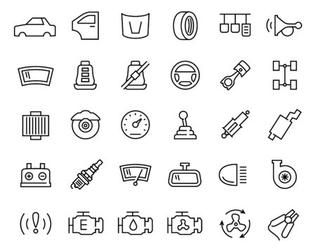 automobile: Car parts vector icon set in thin line style