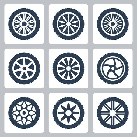 cars race: Wheel disk vector icon set