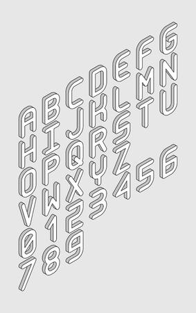 perspectiva lineal: Blanca vertical alfabeto fuente isom�trica de un lado que queda en el estilo de l�nea delgada