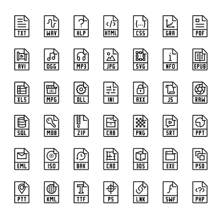 extensions: File format extensions vector icons