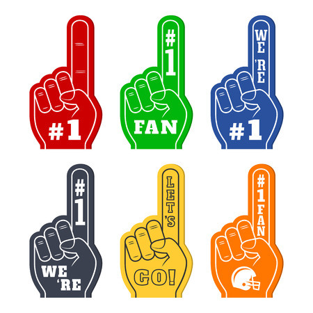 favorite number: Foam fingers icons in six colors. Were #1. Lets Go. Number One Fan