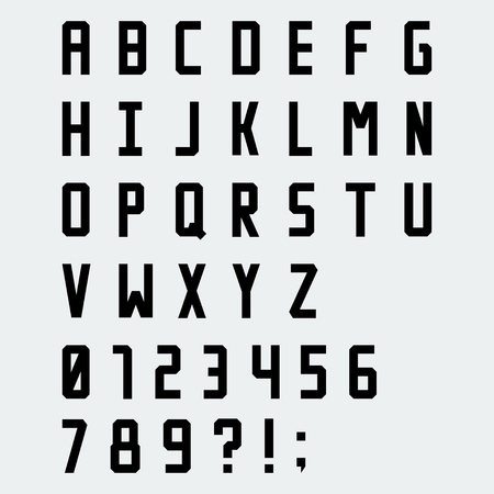 blocky: Simple black blocky vector font with numbers Illustration