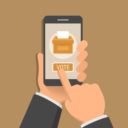 voter registration: Hand holding smartphone with voting app on the screen, flat design style illustration