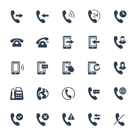 Phone communication and calls vector icon set