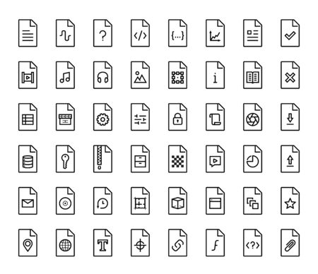 file types: File types vector icon set in thin line style Illustration