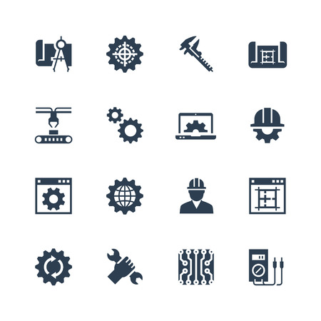 sliding caliper: Engineering and manufacturing vector icon set