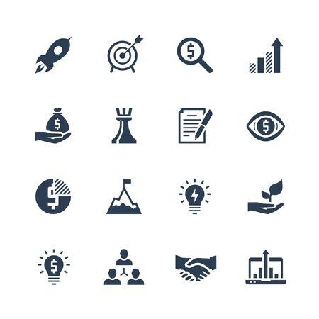 achievment: Startup icons set on white background