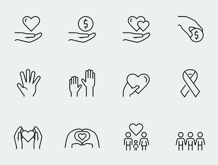 Charity, donation and volunteering icon set in thin line style Vettoriali