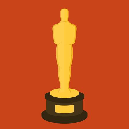 Golden award statuette on red background. Flat design style illustration
