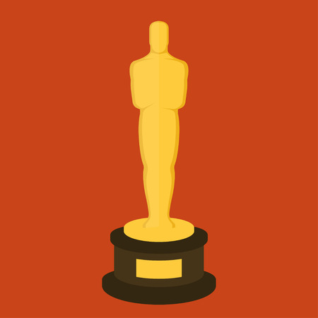 Golden award statuette on red background. Flat design style illustration