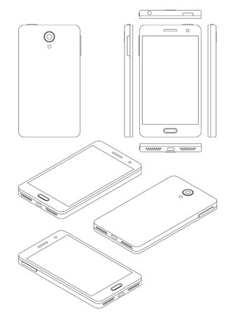 Smartphone mock-up in thin line style, isometric view, back, front and all sides, line thickness is adjustable