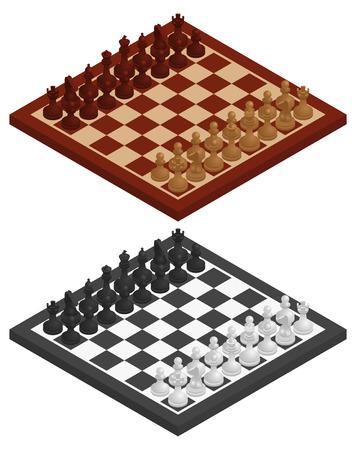 tablero de ajedrez: Ajedrez. Tablero de ajedrez, piezas de ajedrez en que en las variaciones en blanco y negro y de madera. Vector ilustración isométrica Vectores