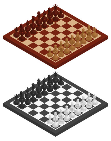 chessmen: Chess. Chessboard, chessmen on it in black and white and wooden variations. Vector isometric illustration