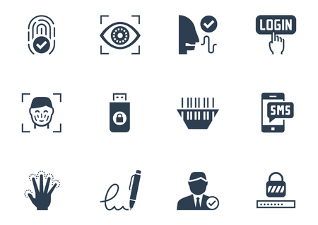 Identitätsprüfung Sicherheitssystem Icon-Set Vektorgrafik