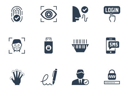 Identiteitscontrole beveiligingssysteem icon set Stock Illustratie