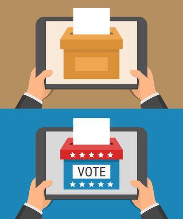 Voting online concept. Hand holding tablet pc and ballot-box on the screen in flat style
