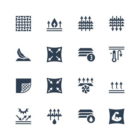 Technologia i właściwości tkaniny zestaw ikon wektorowych