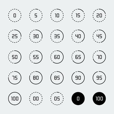 in: Loading, buffering, progress wheel icon set in thin line style