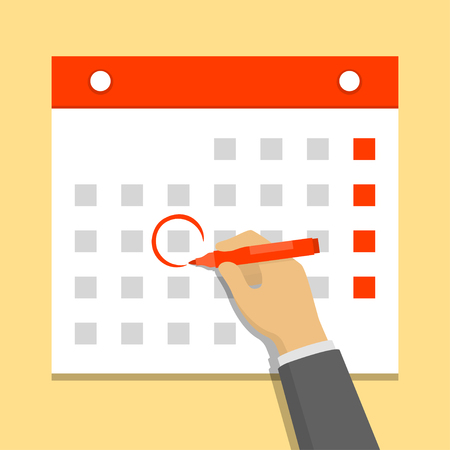 Calendar on the wall and hand marking one day on it. Flat design vector illustration 向量圖像