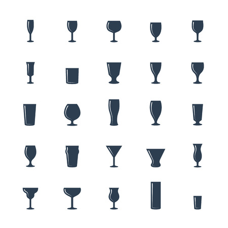 drinkware: Bar glasses vector icon set