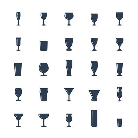 cordial: Bar glasses vector icon set