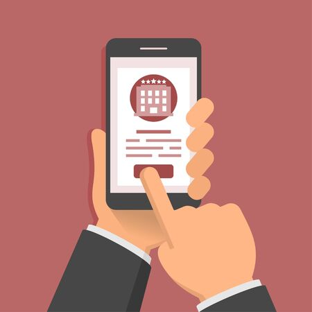 get in touch: Flat style illustration concept of booking hotel via mobile app