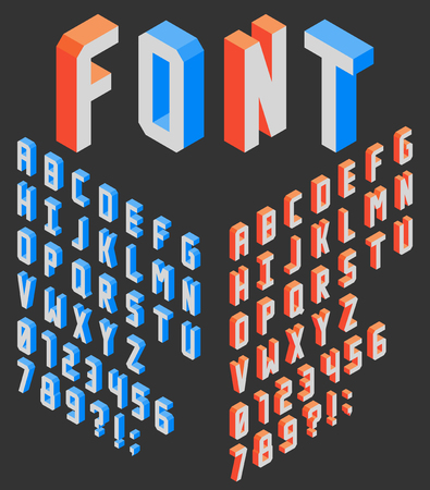 Isometric vertical blocky latin font wit numbers, left and right sides Ilustração