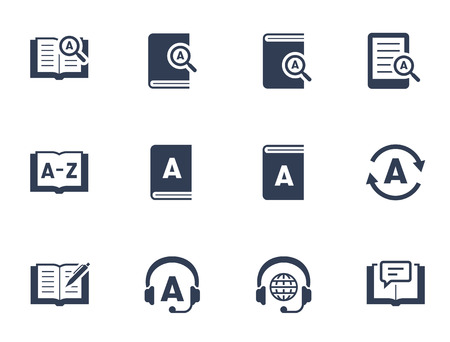 Dictionary and translation related vector icon set