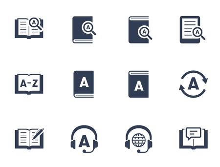Słownik i tłumaczenie związane z ikoną zestaw ikon