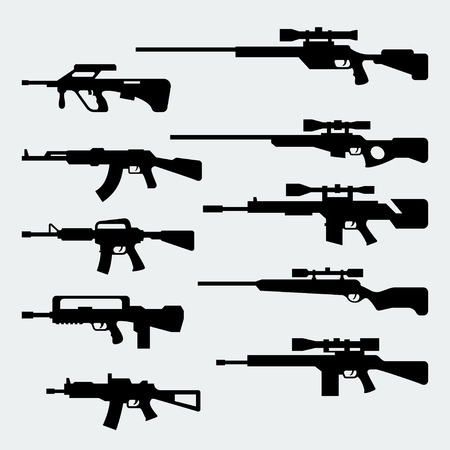 Vector set of silhouettes of modern assault and sniper rifles Stock Illustratie