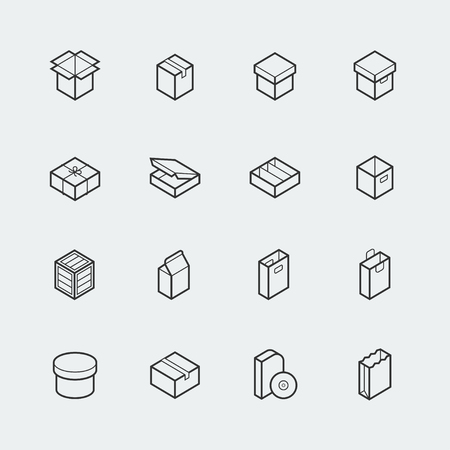 open box: Package related vector icon set in thin line style