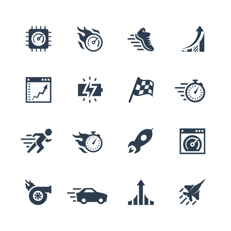 running shoe: Performance and velocity vector icon set Illustration