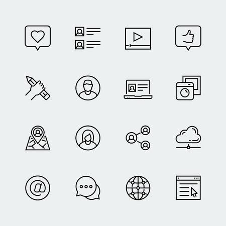 medios de comunicación social, la comunicación y perfil personal de icono de vector en estilo de línea delgada