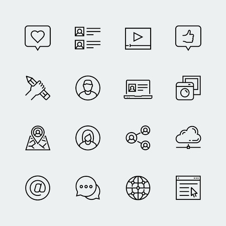 Social media, communication and personal profile vector icon set in thin line style Vettoriali