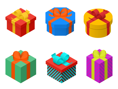 birthday gifts: Colorful present and gift boxes with ribbon bows. Isometric vector illustration