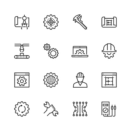 sliding caliper: Engineering and manufacturing vector icon set in thin line style