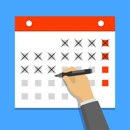 days: Calendar on the wall and hand crossing out days on it. Flat design vector illustration