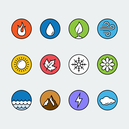 fire and water: Vector round icon set of fire, water, earth and air elements and seasons of year in colorful thin line style
