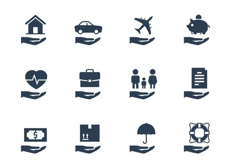 Verzekering conceptuele vector icon set