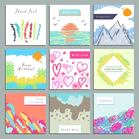 gratifying: Set of creative square invitation, congratulatory, gratifying cards. Hand Drawn. Design for poster, placard, brochure, flyer