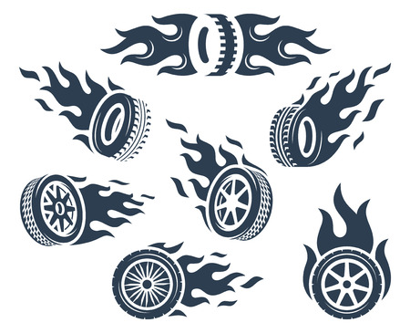 Set of wheels silhouettes with fire flame