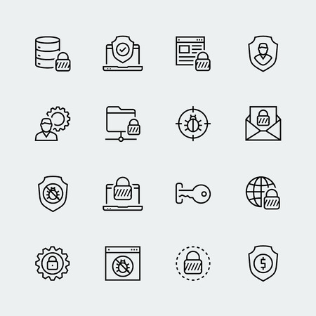 data line: Thin line icon set. Icons for web, data, personal and other protection and security Illustration