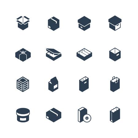 Conjunto de iconos de paquetes tipos de vectores