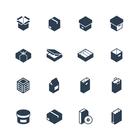 Set of package types vector icons