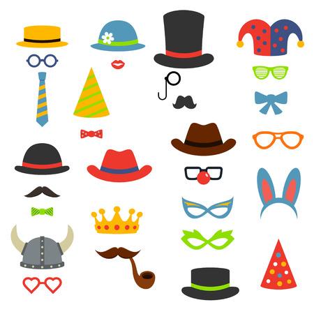 payasos caricatura: Fiesta de cumpleaños de la cabina accesorios de fotos, estilo plano ilustración vectorial