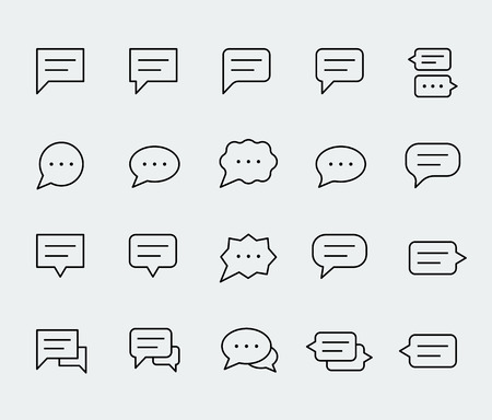 speech icon: Speech bubbles vector icon set in thin line style