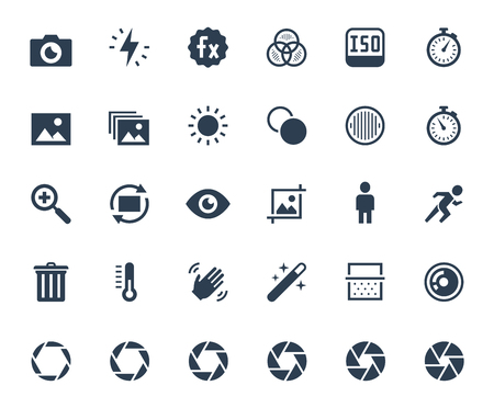 retouch: Photography and digital camera related vector icon set