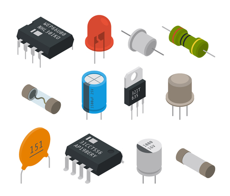 capacitor: Electronic components icons. Isometric vector illustration