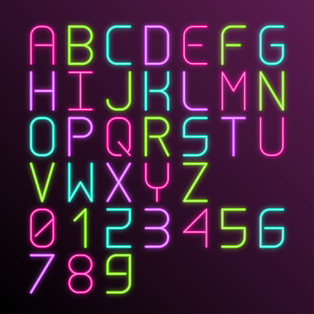 fluorescent tube: Vector colorful neon glow alphabet with numbers Illustration